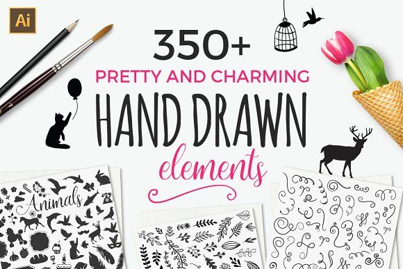350+ Hand drawn elements by VitalexShop on @creativemarket