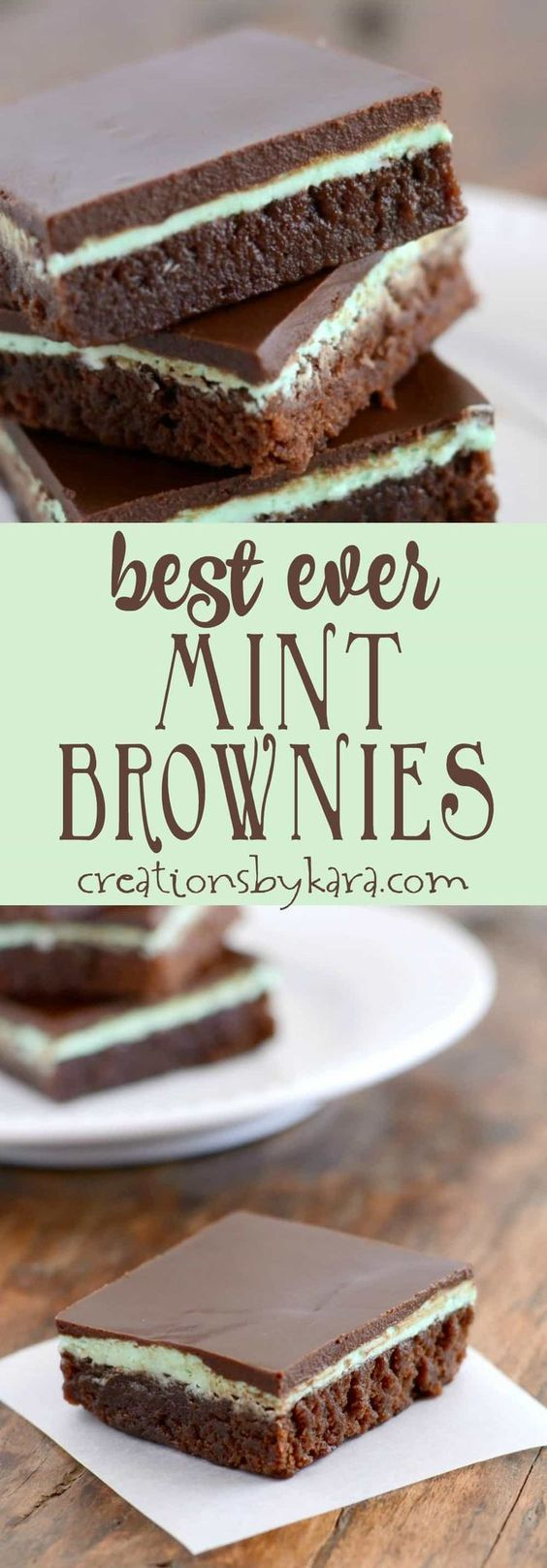 Recipe for mint brownies with a creamy mint frosting and chocolate topping | Posted By: DebbieNet.com
