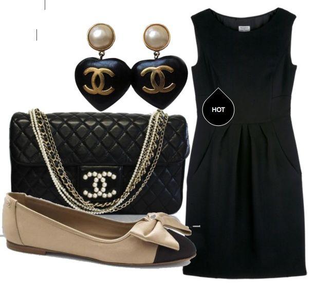 #chanel#chic#eleganza#ballerine#black#outfit