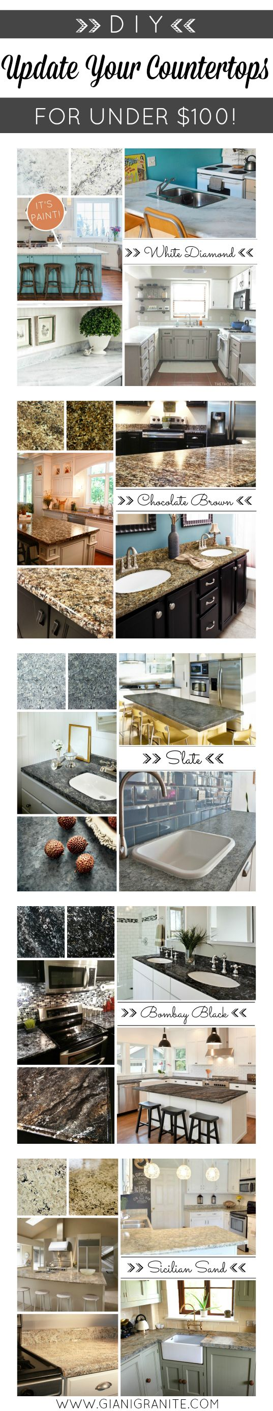 Beautiful PAINTED countertops! DIY countertop paint kits from Giani Granite. Get the look of natural stone for under $100!! Budget-friendly kitchen makeover. www.gianigranite.com