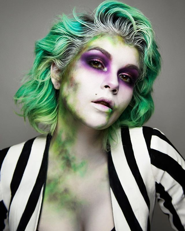 "I'm the ghost with the most, babe. Editorial Beetlejuice makeup I did yesterday! It took me two days to paint this jacket by hand and I am so glad I took the time to put in the extra little effort. This look is one of my favorites!  FACE/BODY: @makeupforeverofficial Hydrating Primer, @mehronmakeup ""Clown White"" Face Paint, @dermablendpro Setting Powder, @lunatick_cosmetic_labs Contour Kit, @danessa_myricks ""Light"" Enlight Highlighter, @sugarpill ""Subterranean"", ""Acidberry"" and ""Midori""…"