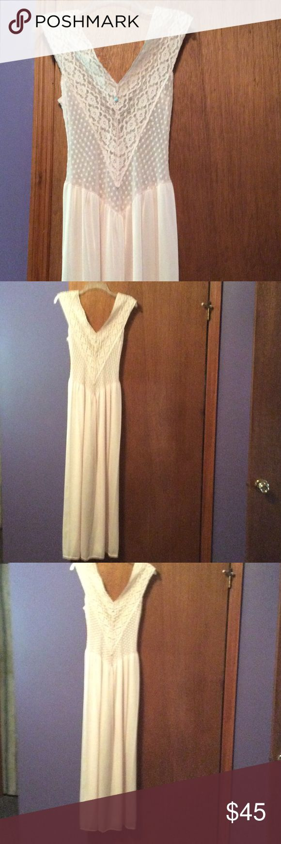 Vintage full length gown. VIntage full length gown by Ashley Taylor...upper part of gown is see thru lace.....pretty pink...excellent condition!!  🍷🍷🍷 Ashley Taylor Intimates & Sleepwear Pajamas