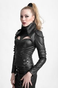 Futuristische Lederimitat Jacke im Girls Warrior Look