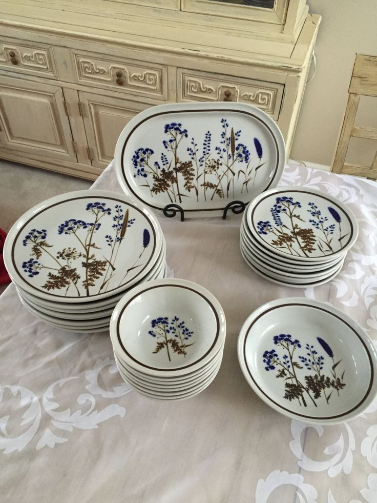 Vintage Noritake Elegant Stoneware Eight Place Setting Dinner Service Blue Wild Flowers Brown Stems Winsome Wedding Gift by LalasCollections on Etsy