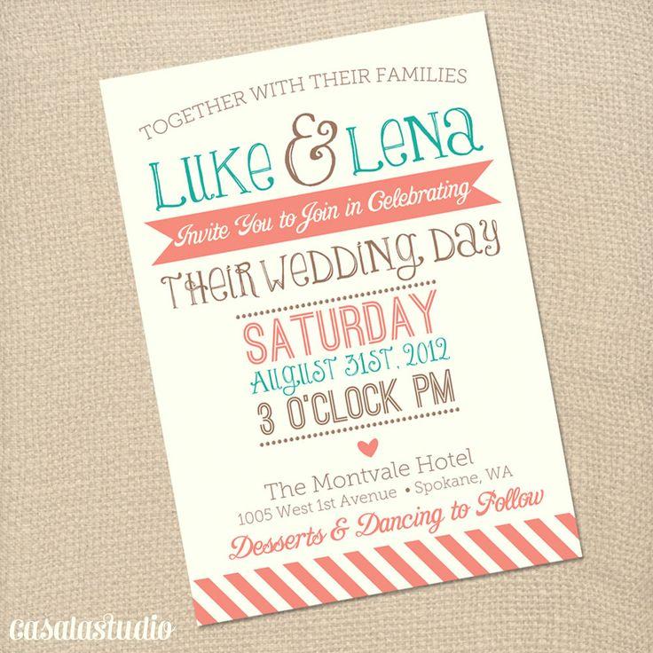 Rustic Vintage Turquoise & Coral Wedding Invite Printable Invitation OR Printed Card. $18.00, via Etsy.
