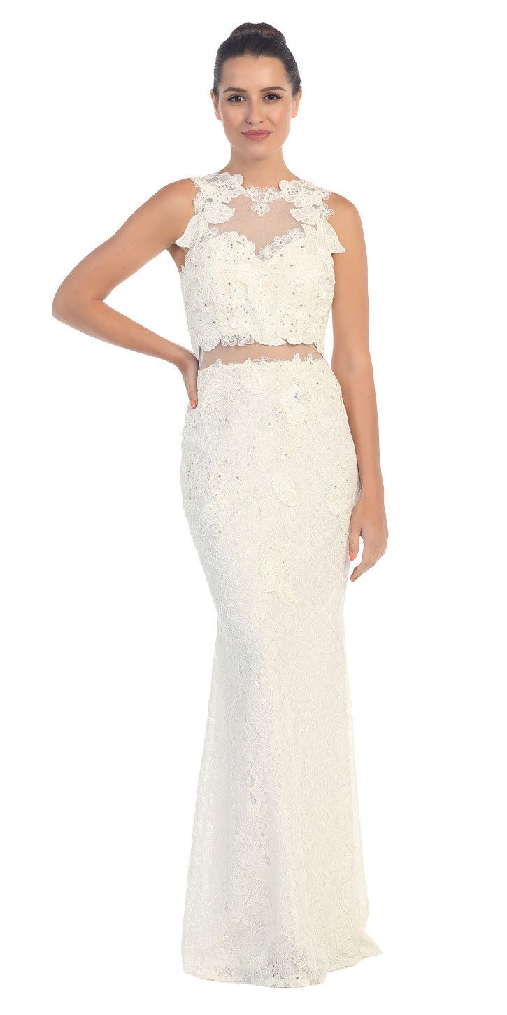 Starbox USA L6137 Beaded Applique Top Lace Skirt Sheath Silver Formal Dress Sleeveless