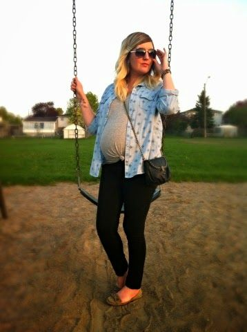 Walk in the Park | Liv.vie In Love Denim shirt, grey tee, black skinny jeans, loafer flats, chain strap bag, aviators, and a big baby bump Maternity style, maternity fashion, pregnancy style, pregnancy fashion, baby bump style, baby bump, 31 weeks, ootd, wiwt, blogger, fashion stylist