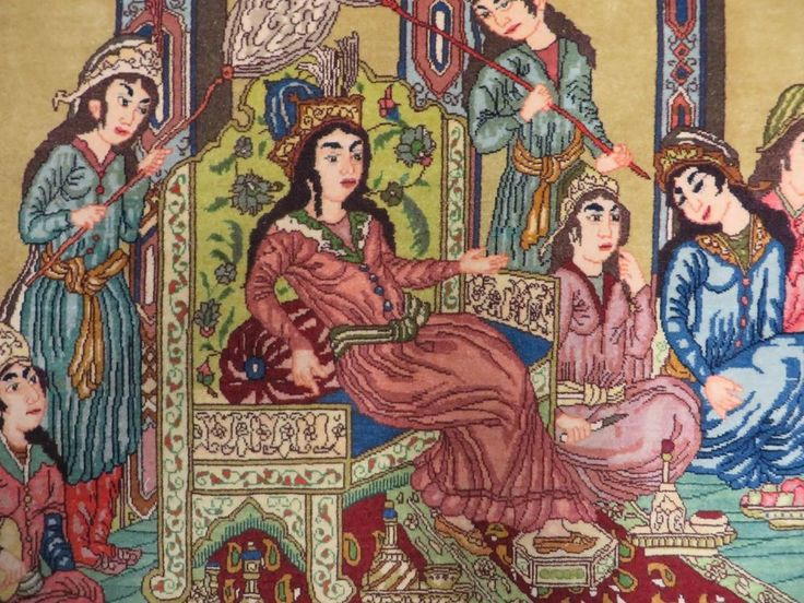 3' X 5' Hand Made Persian Pictorial Tabriz Wool Rug Carpet QUEEN ESTHER PURIM  #Persian