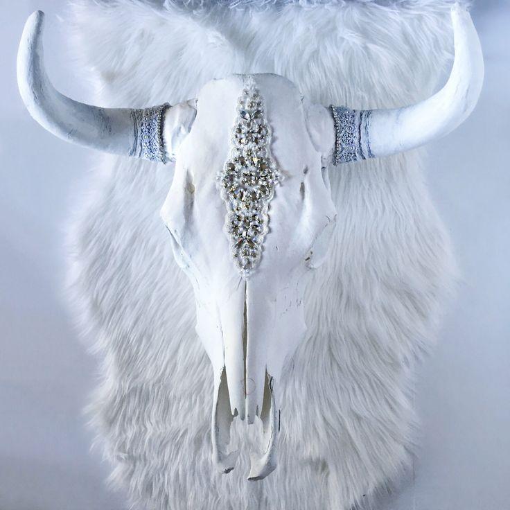 White Willow Rhinestone Steer Skull, cow skull, animal head, bohemian decor, bull skull, wall hanging, rhinestone, white, boho, wall art by SavannahAshleyArt on Etsy https://www.etsy.com/listing/269767532/white-willow-rhinestone-steer-skull-cow