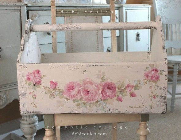 Shabby Romantic Vintage Style Huge Roses Tote - Debi Coules Romantic Art