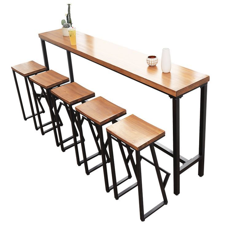 American Bar Table Solid Wood Bar Restaurant Bar Cafe High Stool Chair Combination Against Wall Long High Table B Wood Bar Table Bar Table Home Bar Furniture