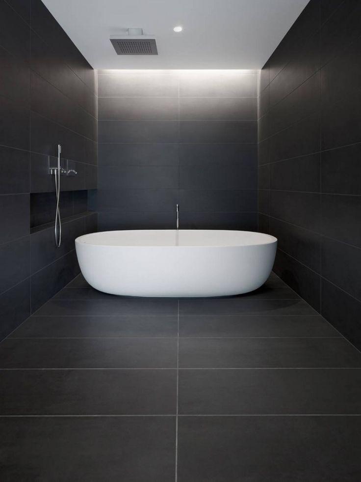 Moody, black tile bathroom #shower #home #minimalist