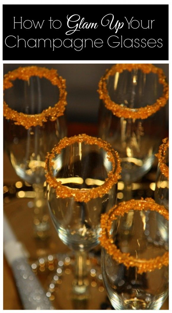 Sugar rimmed champagne glass tutorial, perfect for New Year's Eve! See more party ideas at CatchMyParty.com.