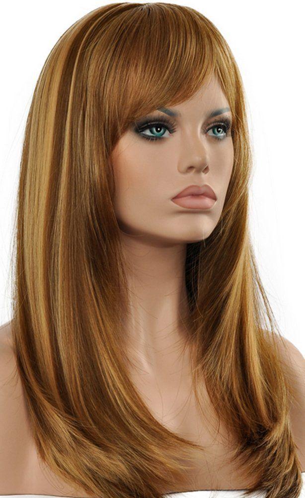 Diy-Wig Fashion Flaxen Long Straight Side Bangs Hair Wig ...