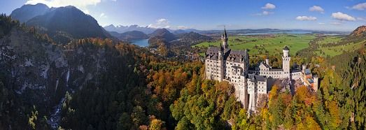 Virtual Tour over Neuschwanstein Castle, Germany - AirPano.com • 360 Degree Aerial Panorama • 3D Virtual Tours Around the World: 360 Degree, Panoramas Virtual Tours, 360 Spherical, Spherical Panoramas, Sleeping Beauty Castle, Places, Aerial Panorama