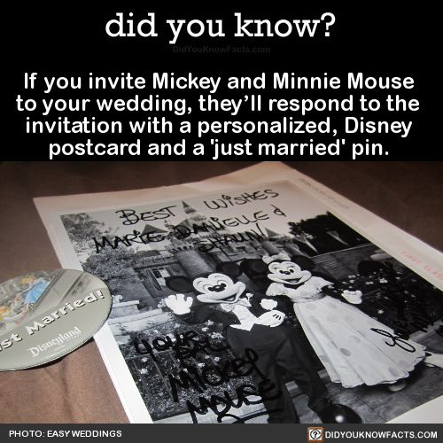 If you invite Mickey and Minnie Mouse to your wedding, they'll respond to the invitation with a personalized, Disney postcard and a 'just married' pin. Source