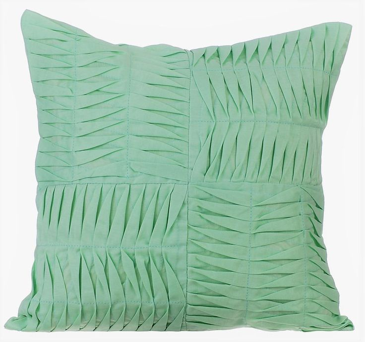 """Green Decorative Pillow Cover, 16""""x16"""" Cotton Linen Pillows Cover, Square Textured Pintuck Solid Color Pillow Cases - Green Pintuck Blocks by TheHomeCentric on Etsy"""
