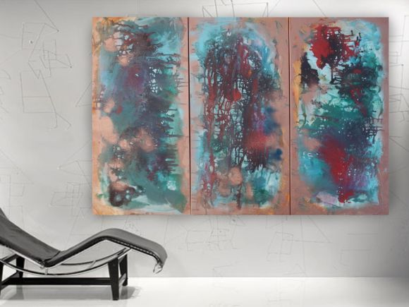 #Fluid #intuitive #paintings 120x190x4 cm #abstract Large #painting A077 XXXL PAINTINGS OOAK #emerald #copper #decor #original big #art ready to hang #painting #acrylic on stretched #canvas wall art by #artist Ksavera