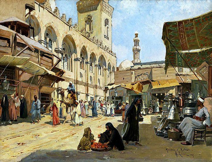 Arab market in Qalawun Mosque, Cairo 1907  By Alberto Rossi (Italian, 1858-1936)  Oil on canvas , 46 x 61 cm.