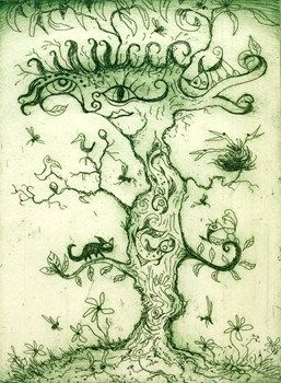 The Exquisite Tree - Nicky Carey & Jeff Gardner   Etching 2013  15 x 20 cms  $180  Available at www.cascadeprintroom.com.au