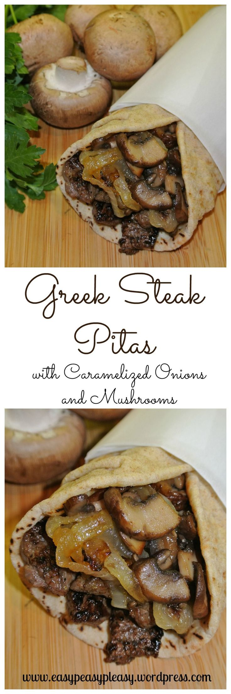 Greek Steak Pitas with Caramelized Onions and Mushrooms. 1 to 1 1/2 lb top sirloin steak, cut in thin strips 1 teaspoon dried oregano 1 teaspoon Cavender's Greek Seasoning 1/2 teaspoon salt and pepper 2 large onions, sliced 8 fresh baby portabella mushrooms, sliced 2 tablespoons butter 5 tablespoons olive oil or canola oil, divided Pitas