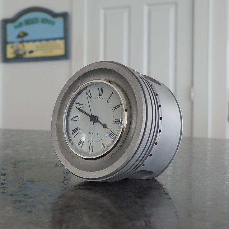 P51 Mustang Rolls Royce Merlin Airplane Engine Piston Desk Clock (RAW) | Aviation Art | Airplane Furniture | Pilot Gifts - Plane Pieces Inc