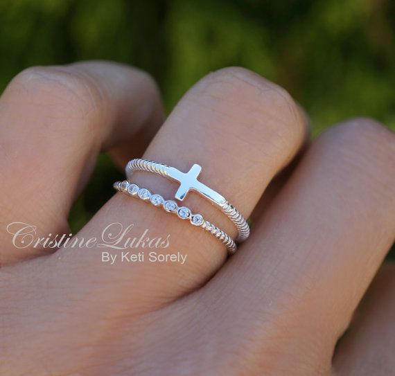 Sideways Cross Ring with CZ Stone Ring Stacking by CristineLukas