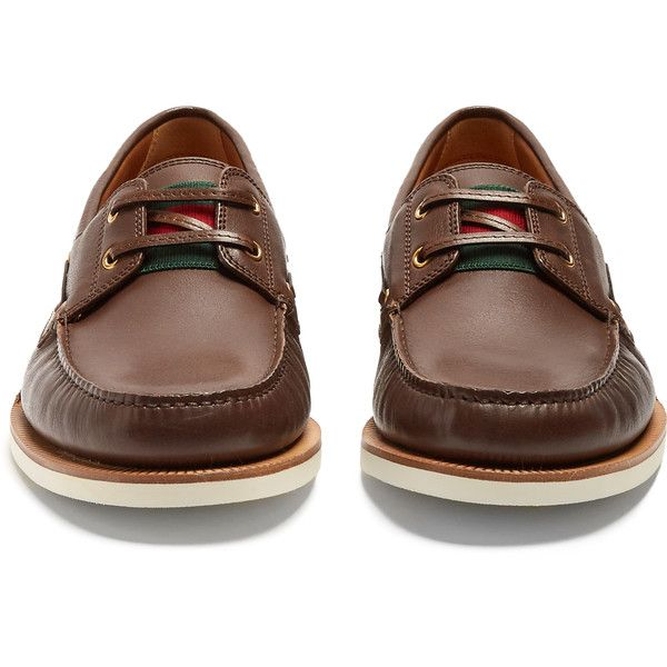 Gucci Delta leather deck shoes ($570) ❤ liked on Polyvore featuring men's fashion, men's shoes, sperry top sider mens shoes, gucci mens shoes, mens round toe shoes, mens leather boat shoes and mens leather shoes