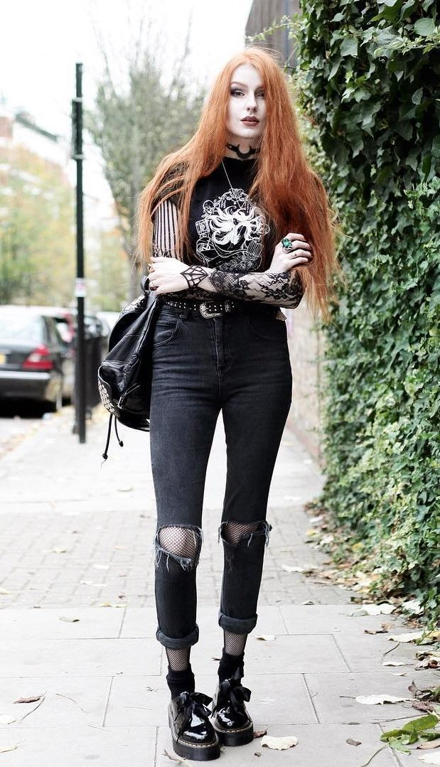 Moon pendant with Fawnbomb 'Black Mirror Princess' tee, long sleeve black lace top under tee, studded western belt, high waisted ripped jeans, matte black spiderweb cuff & patent platform Holly shoes by oliviaemilyx