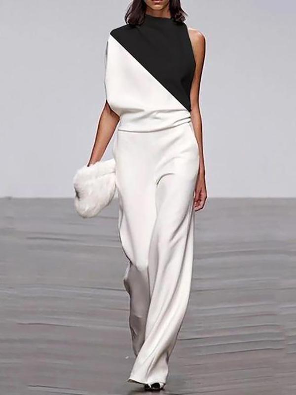 Women's Elegant Coloring Single Off-Shoulder Loose Jumpsuit