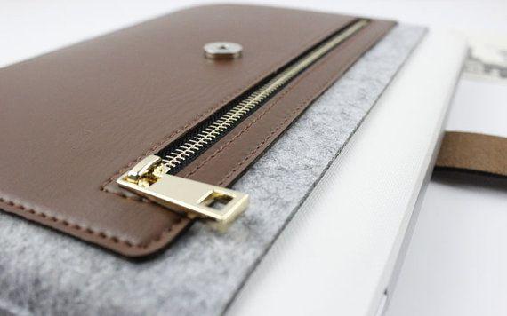 Leather Zipper Felt Macbook sleeve Macbook Air case by FeltSJie