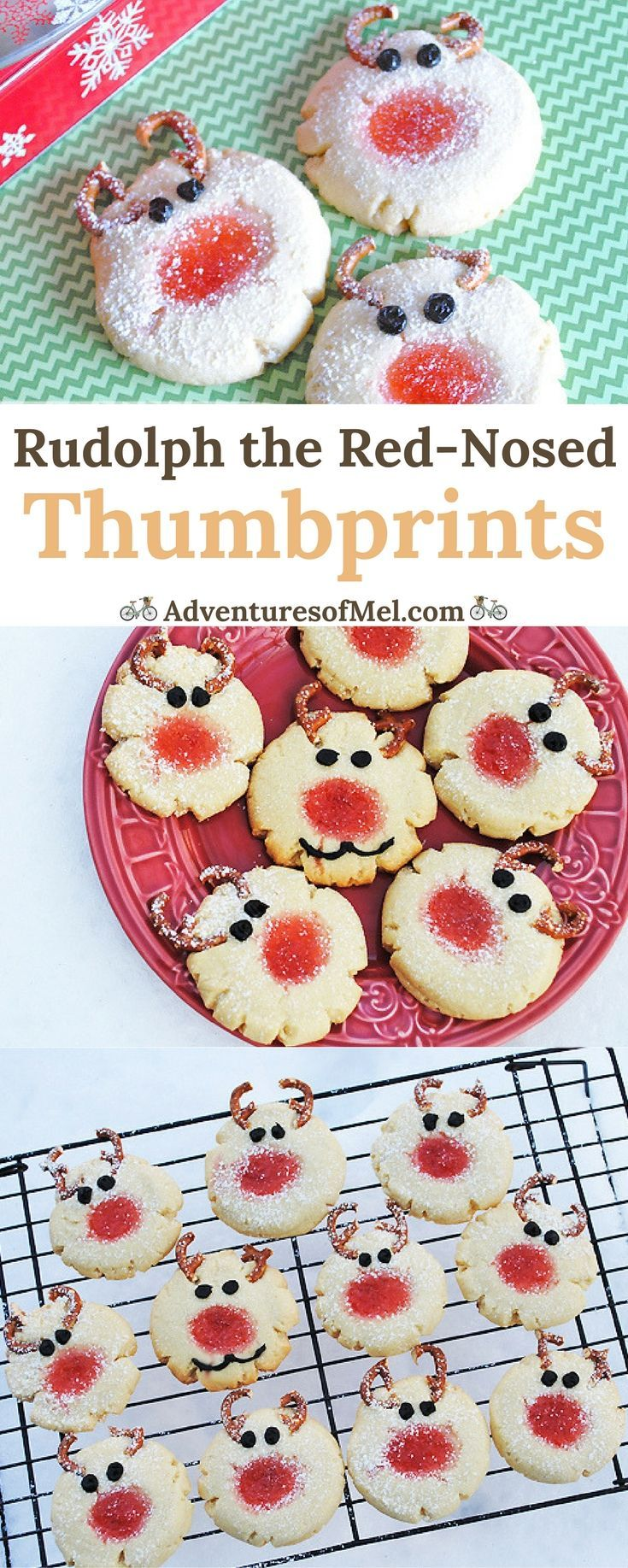 How to make the cutest Rudolph the Red-Nosed Thumbprints using jam and pretzels. Fun Christmas treat for a holiday party and dessert table.