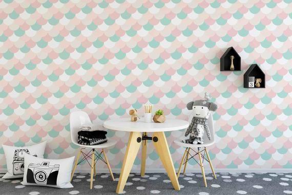 Nursery Wallpaper Removable Wallpaper Pastel Mermaid Etsy Removable Wallpaper Nursery Removable Wallpaper Nursery Wallpaper