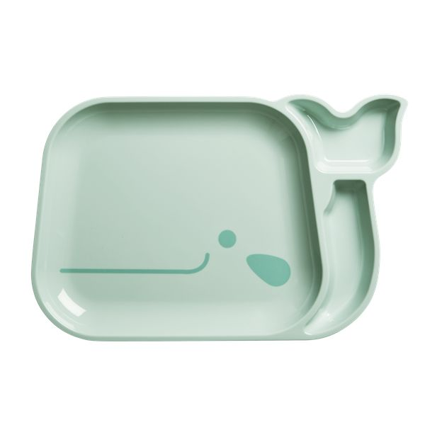 Kids and Toddler Whale Divided Plate. Melamine Kids Plate by Rice DK, Offerd by Modern Rascals. Fun, Durable Kids Cups and Dishes.