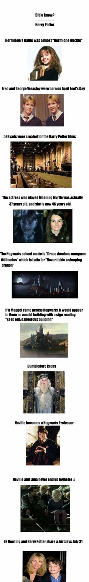Cool Facts about Harry Potter