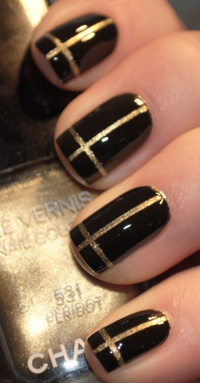 Black and Gold Cross Nails