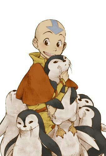 Aang, otter penguins, cute; Avatar: the Last Airbender