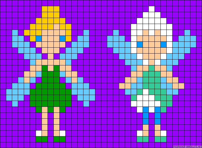 Tinker Bell and Periwinkle perler bead pattern