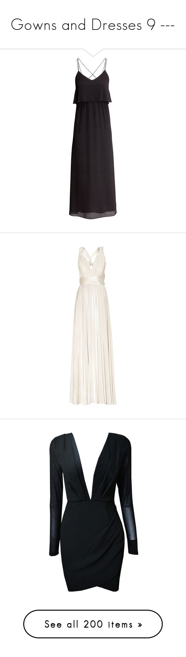 """""""Gowns and Dresses 9 ---"""" by argboo on Polyvore featuring dresses, maxi dress, vestidos, black, h&m dresses, double layer dress, maxi dresses, maxi length dresses, layered maxi dress and gowns"""
