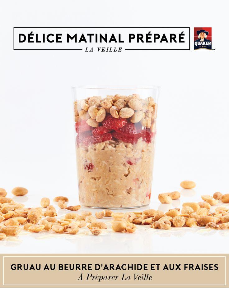 Profitez d'un #délicematinalpréparélaveille avec ce gruau! Beurre d'arachide, fraises fraîches et miel garnis d'arachides grillées et hachées; voilà un délice pour vos sens, et ce, chaque bouchée.    Plus de recettes et d'astuces à gruauapreparerlaveille.ca.
