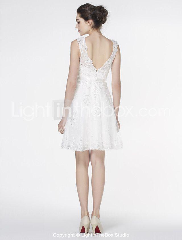 Lanting Bride® A-line Wedding Dress Knee-length Scoop Lace with Appliques / Lace 2017 - R$439.37