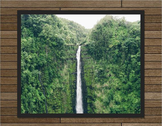 Waterfall photography Big Island Hawaii nature wall by MadebyGia
