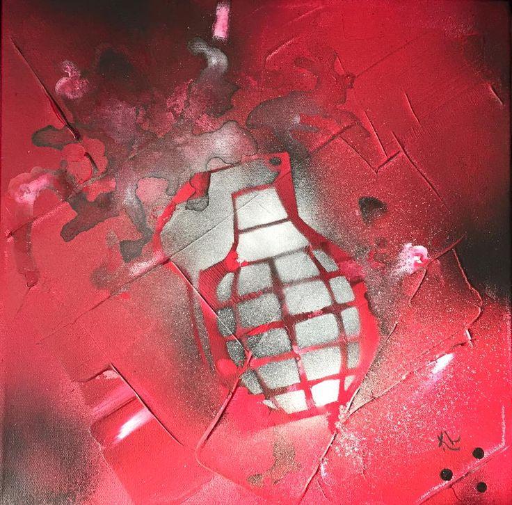 Bang Toile abstraite Acrylique sur toile de coton 12''x12'' Karolanne Leduc Artiste Suivez-moi sur facebook Karolanne Leduc Artiste