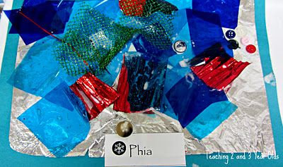 Shiny collages - Use tin foil for shiny background, paint on glue, & let kids stick scraps of paper, buttons, etc. to create their collage