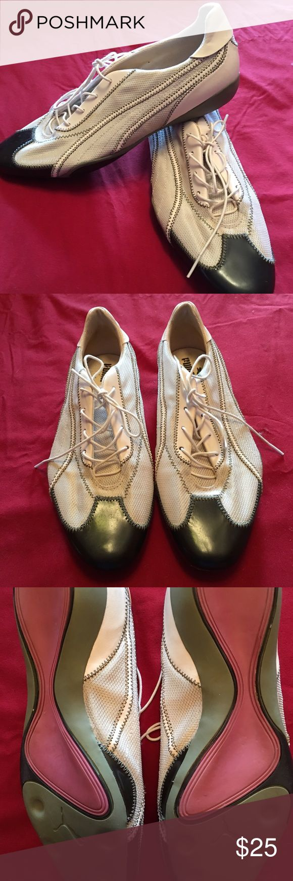 Puma Dapper Dan Rare Ladies Lace Up Ladies Puma Dapper Dan, Casual Lace Up Fashion Trainers, Size 10, Great Condition!! Leather and Textile Upper, Toe Cap Detail, Tappered Toe Puma Shoes Athletic Shoes