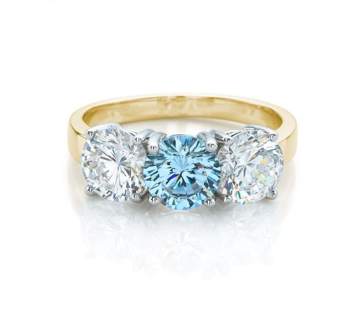 3 Stone Brilliant Cut Ring - Aquamarine Colour | Secrets Shhh