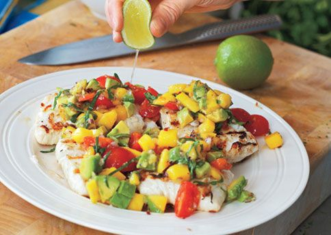Gwyneth Paltrow's recipe for Grilled Halibut with Mango-Avocado Salsa. Maybe if I eat it, I'll look like her