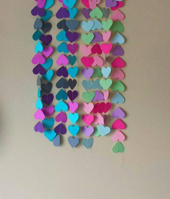 Heart Paper Garland Valentine's Day Garland by BootsAndDirtRoads