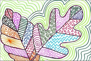 line art...  exploring patterns, lines, and details.  use permanent sharpies (colorful lines are nice, but all black looks pretty sleek) then watercolor these works of art!