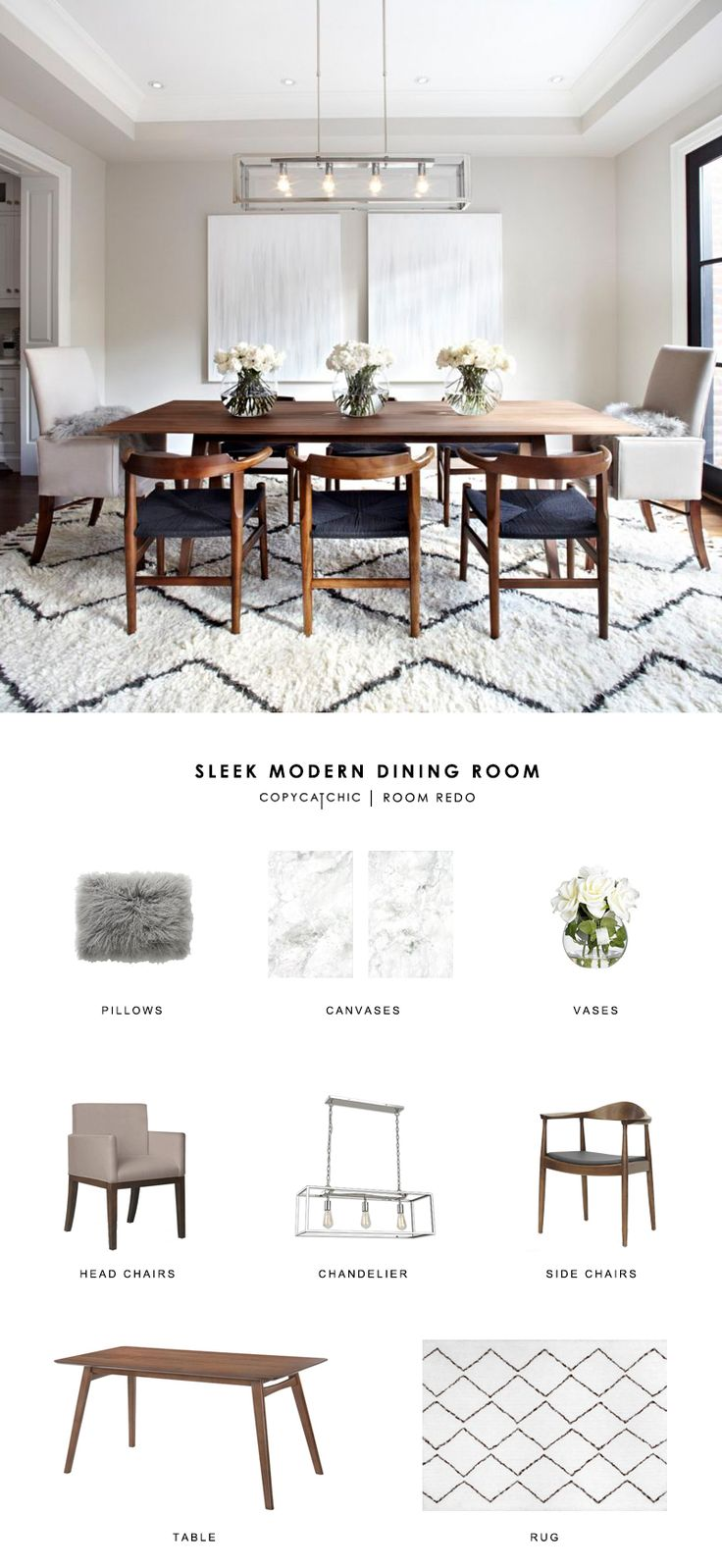 Transitional dining room - Copy Cat Chic Room Redo Sleek Modern Dining Room Transitional